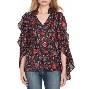 Floral Boho Style Peasant Top XS Jessica Simpson